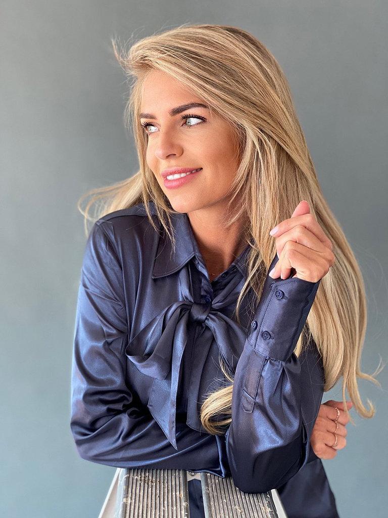 Est'seven Est'seven Satin stretch blouse blue