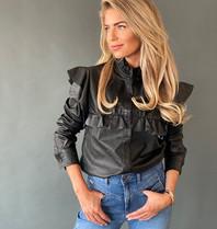 Est'seven Est'seven Isa blouse met ruffles zwart