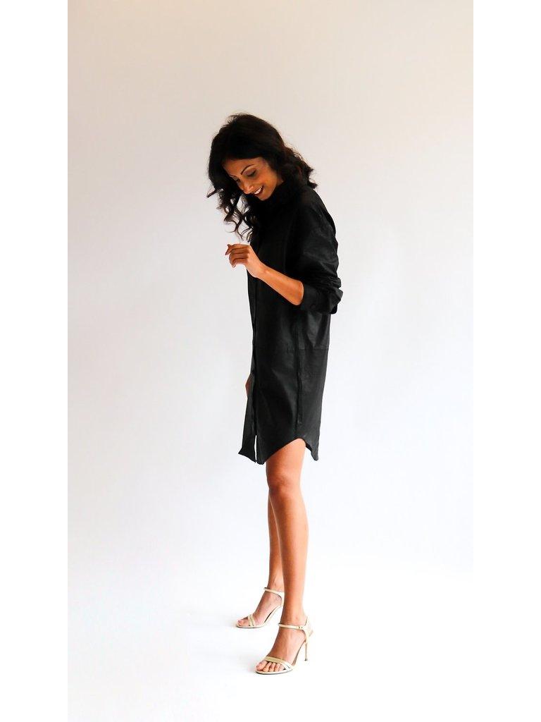 Est'seven Est'Seven oversized blouse dress zwart