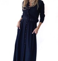 Est'seven Est'Seven Long dress donkerblauw