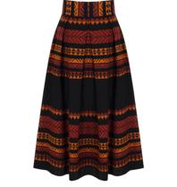 Rinascimento Rinascimento midi rok met atzec print zwart oranje