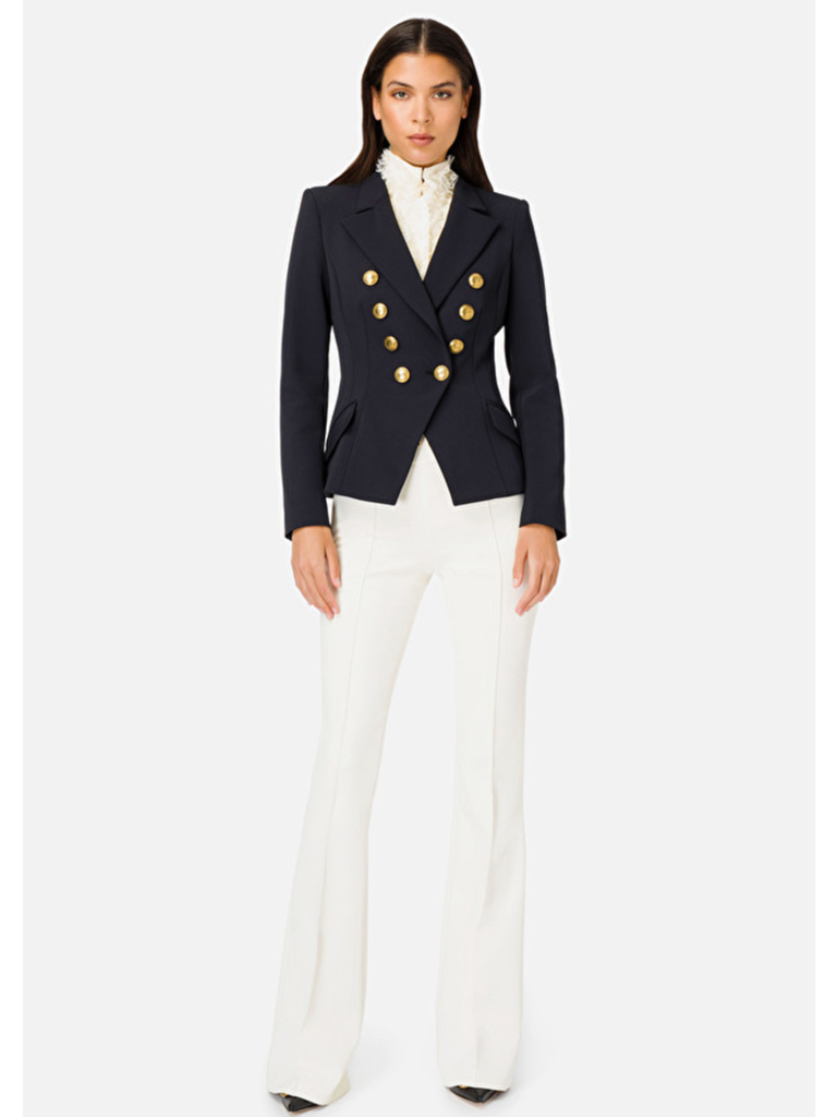 Elisabetta Franchi Elisabetta Franchi double-breasted blazer with gold buttons in black