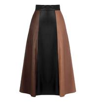 Rinascimento Rinascimento midi faux leather rok zwart bruin