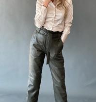 Est'seven Est'Seven leather ruffle pants green