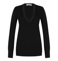 Rinascimento Rinascimento-Pullover mit V-Ausschnitt und Spitzendetail in Schwarz