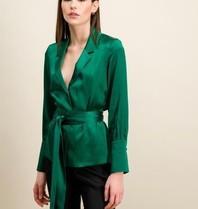 DMN Paris DMN Paris Michele zijde blouse groen