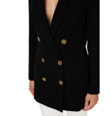 Elisabetta Franchi Elisabetta Franchi oversized double-breasted blazer met gouden knopen zwart