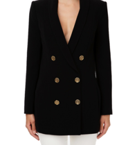 Elisabetta Franchi Elisabetta Franchi oversized double-breasted blazer with gold buttons in black