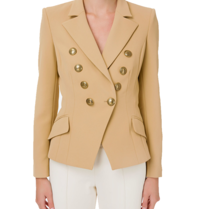 Elisabetta Franchi Elisabetta Franchi double-breasted blazer with gold buttons in camel