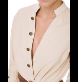 Elisabetta Franchi Elisabetta Franchi faux leather body with gold colored buttons ecru