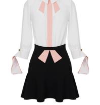 Elisabetta Franchi Elisabetta Franchi tweedelige jurk met details wit zwart