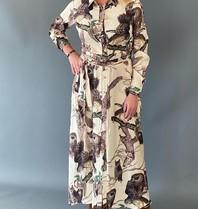 Est'seven Est'seven Rio maxi dress owl print beige