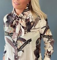 Est'seven Est'seven Rio blouse met strik owl print beige