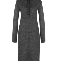 Rinascimento Rinascimento faux fur midi jurk met capuchon grijs