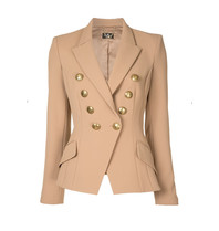 Elisabetta Franchi Elisabetta Franchi double-breasted blazer with gold buttons beige