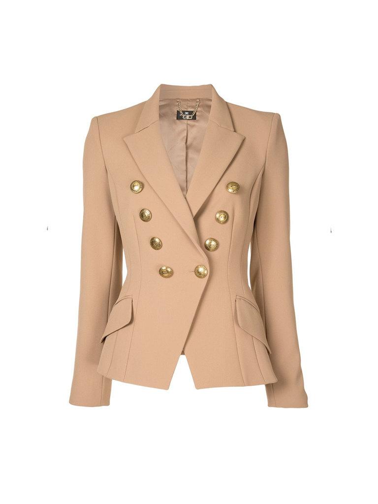 Elisabetta Franchi Elisabetta Franchi double-breasted blazer met gouden knopen beige