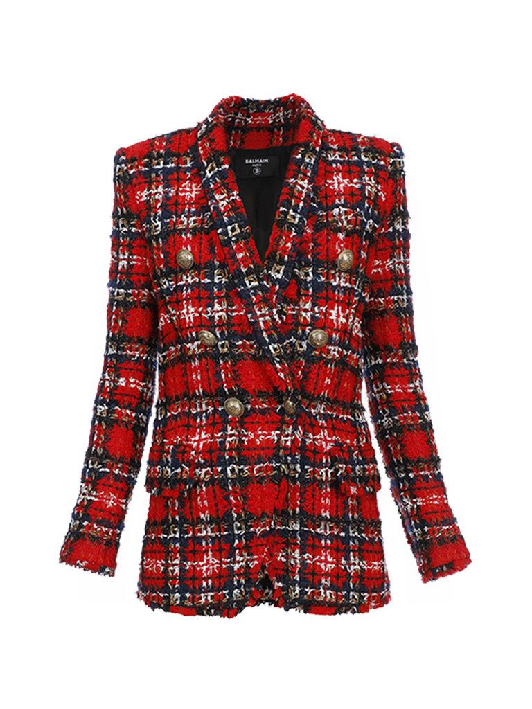 Balmain Balmain oversized double-breasted blazer tweed rood