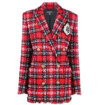 Balmain Balmain Tweed Blazer mit zweireihigen Knöpfen und Logo rot