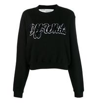 Off-White OFF-WHITE Cropped sweatshirt met shearling logo print zwart