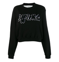 Off-White OFF-WHITE Cropped sweatshirt with shearling logo print black
