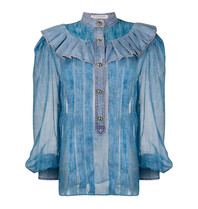 Philosophy Di Lorenzo Serafini Philosophy Di Lorenzo Serafini denim blouse met ruches blauw