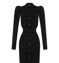Rinascimento Rinascimento jurk met goudkleurige knopen zwart