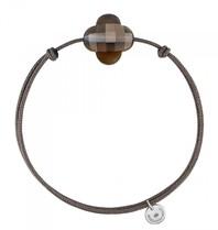 Morganne Bello Morganne Bello koord armband met rookkwarts steen bruin