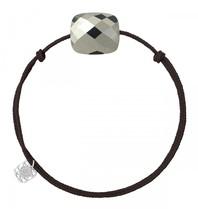 Morganne Bello Morganne Bello koord armband pyriet steen oversized donkerbruin