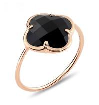 Morganne Bello Morganne Bello Ring mit Onyx Klee Stein Gelbgold