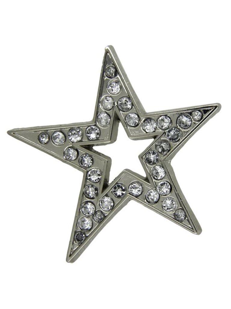 Godert.Me Godert.me Open star rhinestone pin zilver
