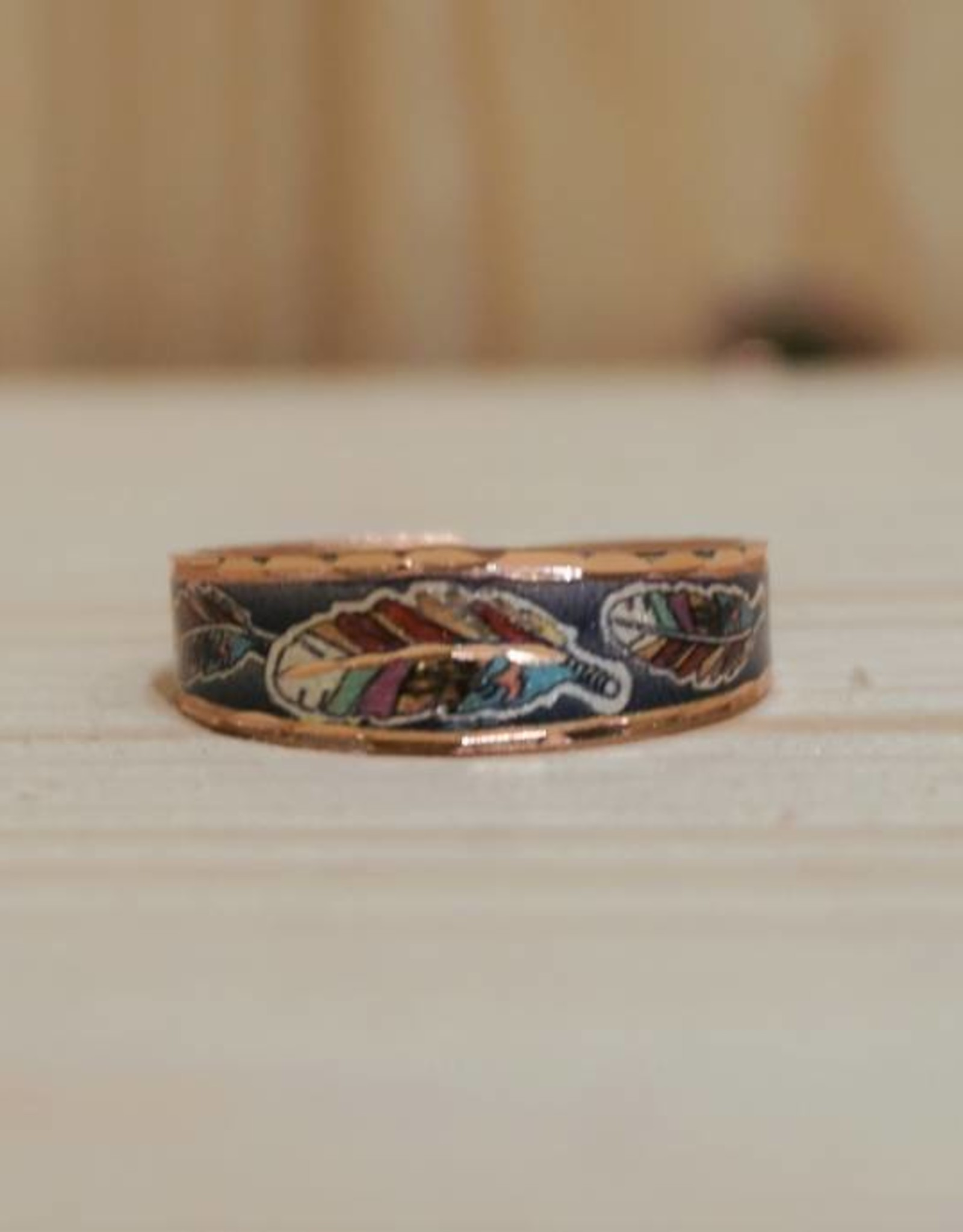 "Schmaler Ring  aus Kupfer ""Colorful Feathers"""