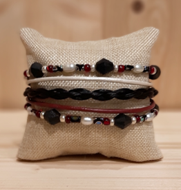 "Pferdehaararmband ""Five Strand"" in Rot"
