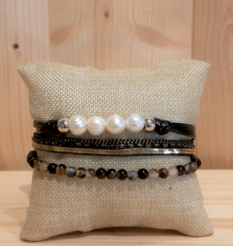 Fancy Armband Pearl Glow black