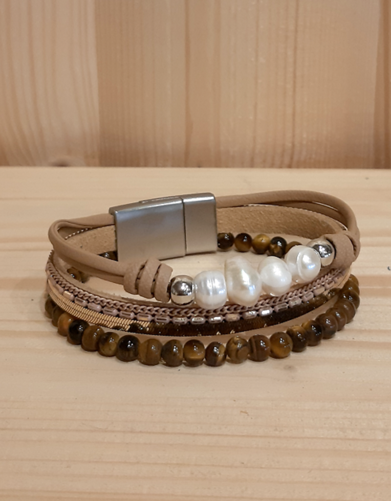 Fancy Armband Pearl Glow brown