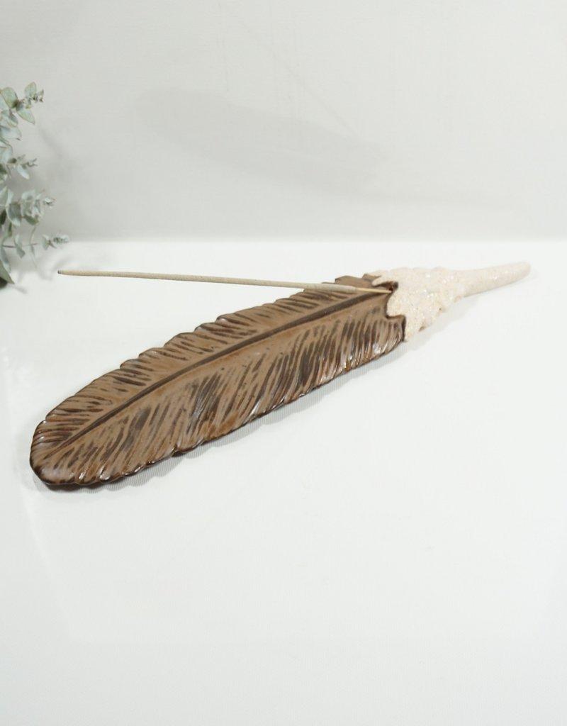 Räucherstäbchenhalter Braune Feder Handgefertigt aus Ton