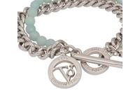 2 in 1 bracelet - white gold & aqua agate beads