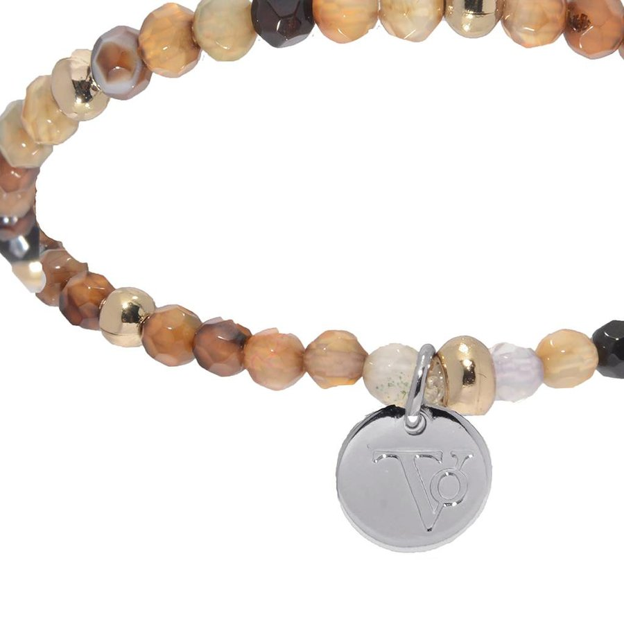 Romancing The Stones  - Armband - Bruin/ Wit goud