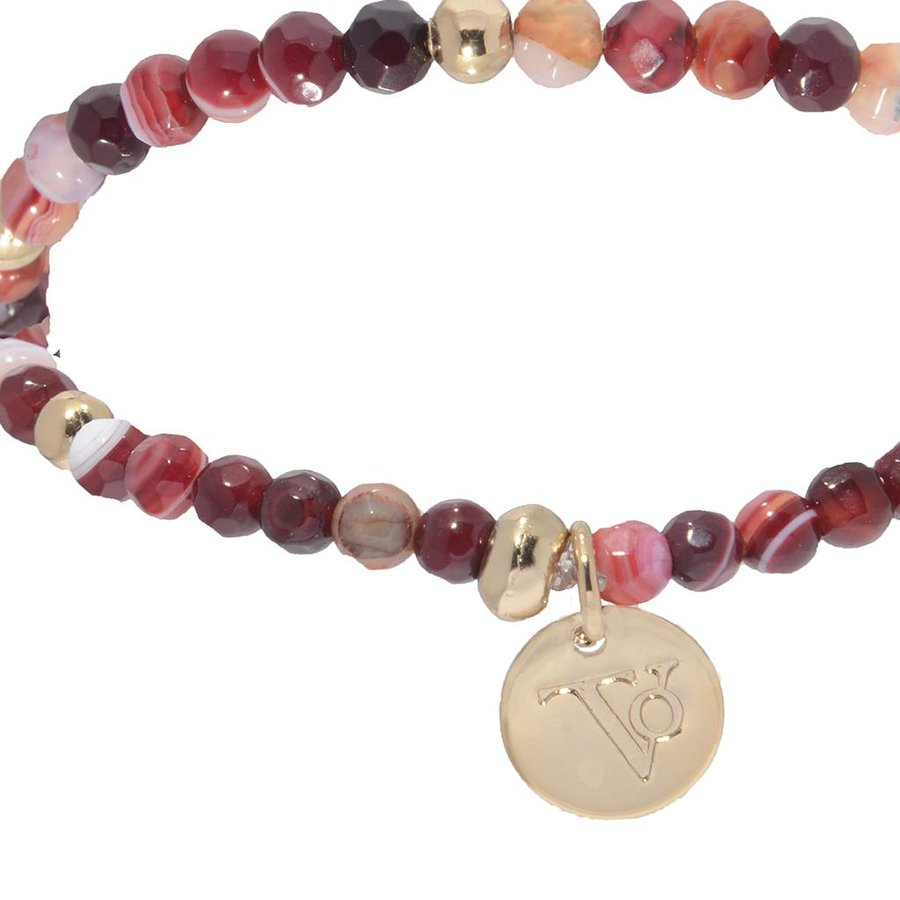 Romancing The Stones - Armband - Burgundy/Light Gold