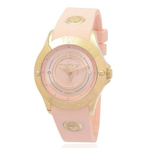 Tropical beach gold watch
