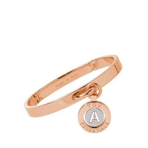 Iniziali bangle 2.0 - Rose/White Gold - Letter A