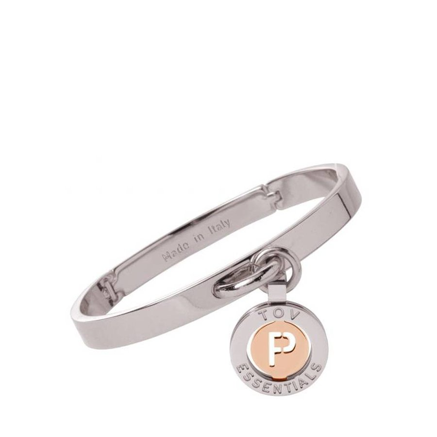 Iniziali bangle (Armband) 2.0 - Wit Goud/Rose - Letter P