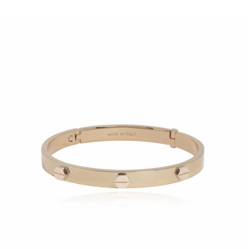 Fine rivets bangle - champagne gold