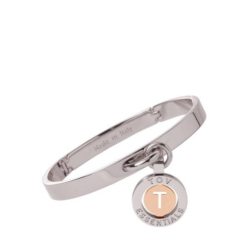 Iniziali bangle 2.0 - White Gold/Rose - Letter T