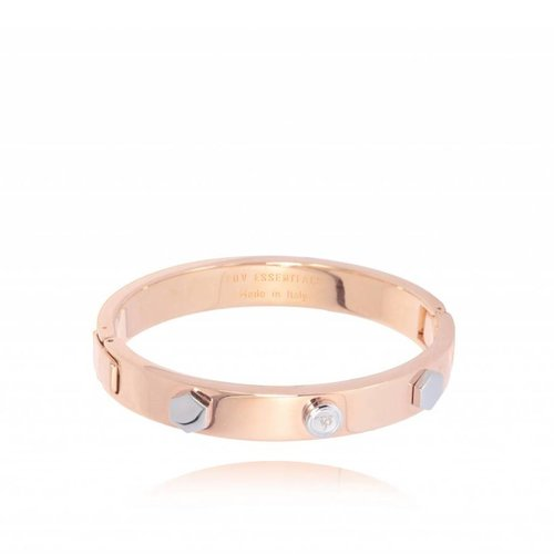 TOV rivets bangle - Rose/White Gold