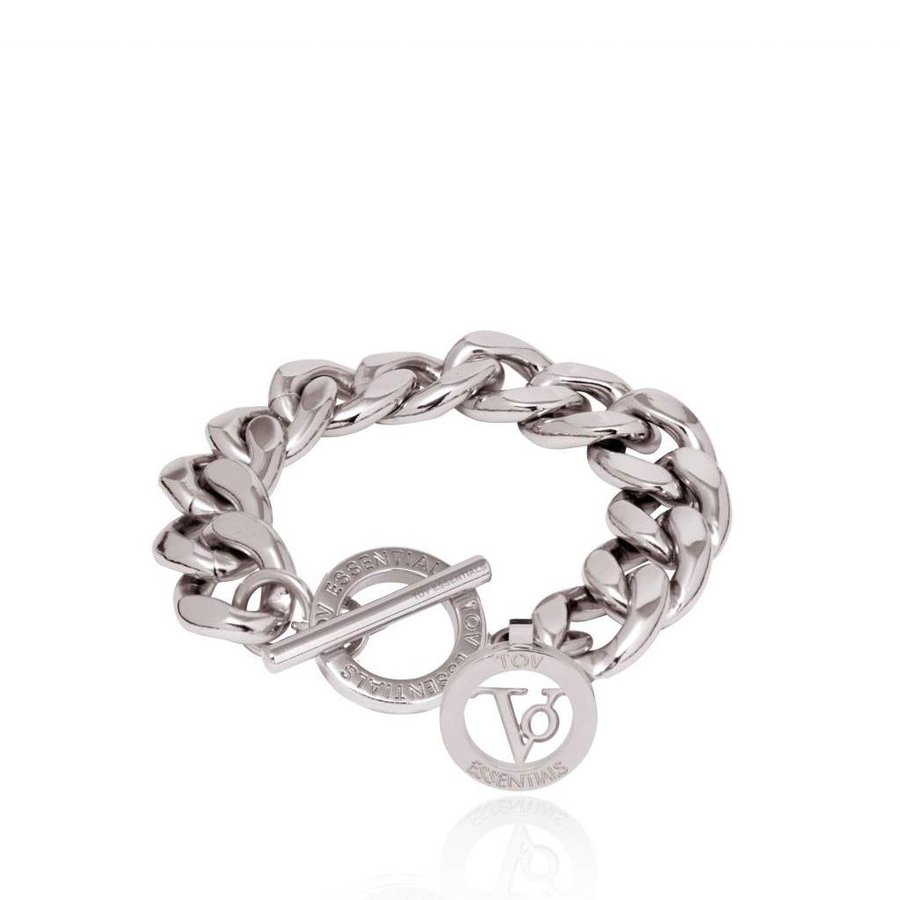 Small Flat Chain - Armband - Wit Goud