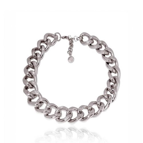 Flat gourmet collier - White Gold