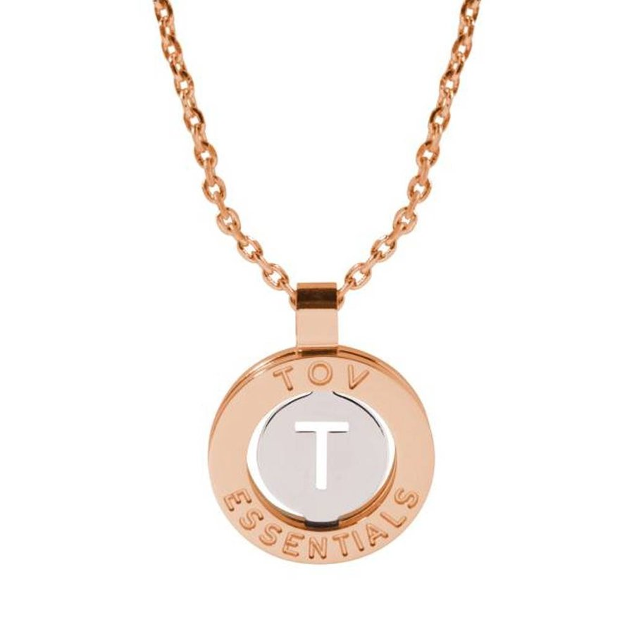 Iniziali necklace 2.0 - Rose/White Gold - Letter T