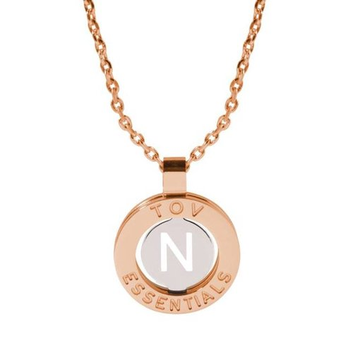 Iniziali necklace 2.0 - Rose/White Gold - Letter N