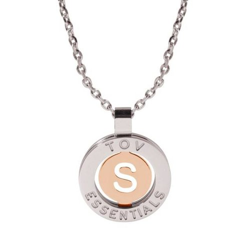 Iniziali ketting 2.0 - Wit Goud/Rose - Letter S