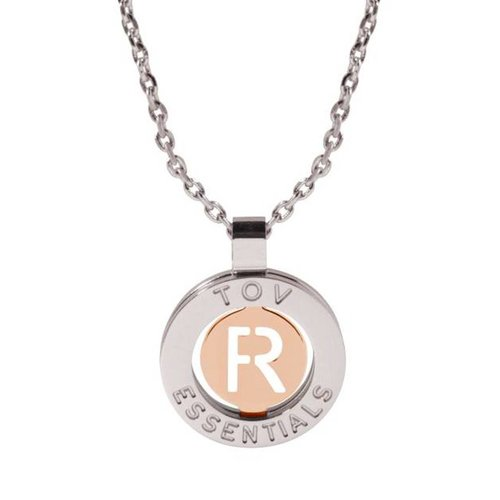 Iniziali ketting 2.0 - Wit Goud/Rose - Letter R